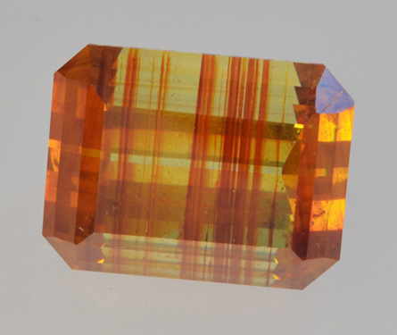 Faceted sphalerite with color zoning